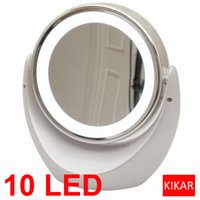Wholesale Toilet Mirror Light - Desktop LED Double sided Swivel Cosmetic Makeup Mirror Lady Beauty Facial Light Illuminated Lighted 5x 1x Magnification Bathroom Dual Toilet