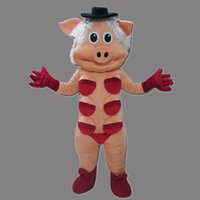 Wholesale Lovely Pink Pig Mascot - Hot New: Lovely New Pink Pig Monster Mascot Costume For Festival Hallooween Christmas