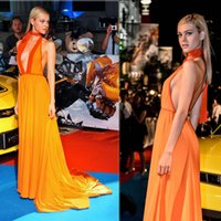 Wholesale Halter Candy - 2015 Cheap Sexy Evening Dresses A Line Dandy Orange Candy Ribbon Halter Backless Court Train Occasion Dresses