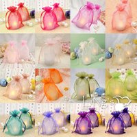 "Wholesale Organza Logo - Organza Gift Bag 7cmx9cm(2 6 8""x3 4 8"") Can print Logo Earring Ring Stud Small Drawstring cheap Clear Jewelry pouches"