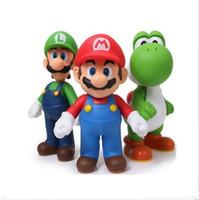 özgür luigi bebekleri toptan satış-Ücretsiz Kargo Süper Mario Bros Mario Yoshi Luigi PVC Action Figure Koleksiyon Model Oyuncaklar Bebekler 3 adet / takım