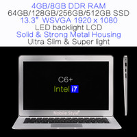 Wholesale 16 Led Laptop Lcd - DHL-in-Stock 13.3inch IPS Intel i7 Quadcore 8GB Ram 512GB SSD Laptop LED backlight LCD Win7 Win8 Notebook Metal case (C6+i7)