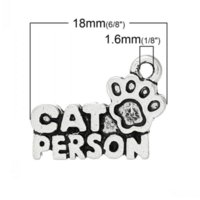 """Wholesale Carved Cat Charms - Dorabeads Charm Pendants Cat Footprint Antique Silver """"Cat Person""""Carved 18mm x 13mm(6 8"""" x 4 8""""),50 PCs"""