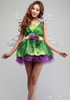 Wholesale Tinker Clothing - Wholesale-Halloween costumes for kids Elves tinker bell cosplay costume queen party dress anime clothes for girls with Wings