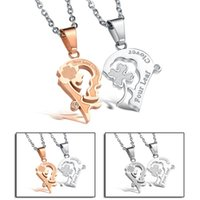 Wholesale Market Copper Price - Direct factory price jewelry accessories market containing pure steel with rose gold chain necklace GX906 couple