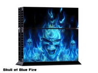 SKULLOF BLUE FIRE DECAL SKIN PROTECTIVE STICKER pour SONY PS4 CONSOLE CONTROLLER