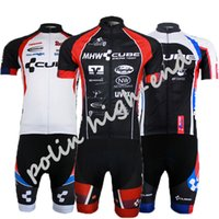 Wholesale Team Cube Cycling Jerseys - Wholesale-Men's CUBE Team cycling jersey  bike clothing  cycling jerseys short sleeve Roupas De Ciclismo Mtb Men Sportwear gel pad