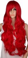 peluca rizada rubia roja al por mayor-Qqxcaiw largo rizado cosplay peluca fiesta rojo rosa astilla gris rubio negro 70 cm de alta temperatura pelucas de pelo sintético