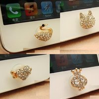 Wholesale Iphone Stickers For Girl - 4 Different Styles New Crystal Crown Girl Swan Fox Head Bling Diamond Home Button Sticker for iPhone 4s 4 5 ipad