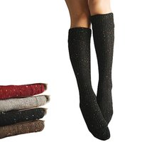 Wholesale Gray Knee High Boots Women - S5Q Warm Women's Turn Up Rib Colored Wool Blend Long Knee High Winter Boot Socks AAAEGU