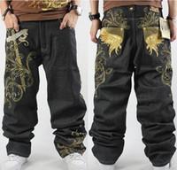 Wholesale Jeans Large Hip Hop - Hip hop black men jeans loose style hip hop baggy jeans denim pants men fashion embroidery jeans large size 30-46