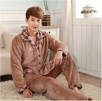 Wholesale Soft Coral Fleece Sleepwear - Light brown solid Sleepwear quality pyjamas men flannel nighty soft warm coral fleece turndown collar winter nightclothes