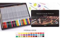 Wholesale Led Pencils Free Shipping - 24 36 48 72 lapis de cor profissional colored pencils watercolor pencils lead water-soluble color pen free ship 1512