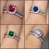 Women's 925 Silve Filled Ruby / Emerald / Sapphire com CZ Side Stone Ring Sets Brand Jewelry