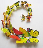 ingrosso adesivi gialli della farfalla-(12pcs = 1 set) 3D Adesivi murali a farfalla Decor Decorazioni d'arte Verde Giallo Blu Rosa nero bianco rosa multicolor