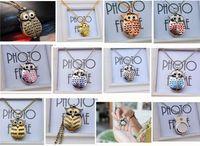 colar de relógio de coruja de quartzo venda por atacado-10 cores Bonito Do Vintage Night owl Colar Pingente de Quartzo Relógio de Bolso Colar Coruja Relógios J015