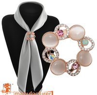 Wholesale cheap scarves china - High-grade brooch scarf buckle dual-personality fashion cat-dimensional crystal brooch scarf buckle high quality with cheap price
