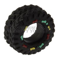 Wholesale Tire Chew Toy - 1pc Squeaky Squeaker Rubber ToysAnimal Sounds Tire Shape Pet Dog Toy Puppy Cat Chews Black Diameter 8cm