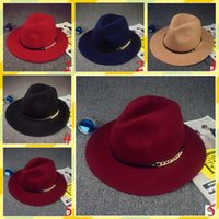 Wholesale Hat Wholesale England - best selling New Arrival Winter Fedora Hat Women Vintage England Style Chain Hat Felt Wide Brim Floppy Sun Beach Church Bowknot Party Cap