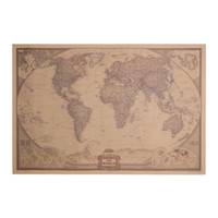 Vintage World Map Travel Decoração para casa Detailed Antique Poster Wall Sticker Papel retro World Map