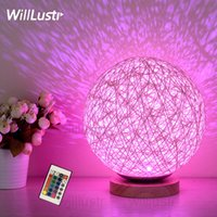 Wholesale Halloween Atmosphere - LED RGB remote control colorful nightlight kids baby room bedside table lamp random wicker atmosphere party Christmas holiday night light