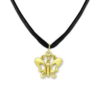 Wholesale Insects Gold Pendant Necklaces - Fitness Jewelry Zinc Alloy 18K Gold Plated Floating Vivid Butterfly Insect Animal Message Charms Animal Chain&Rope Pendant Necklaces