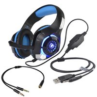 Gaming Headset per il nuovo Xbox One PC, Beexcellent 3.5mm LED Light Gaming Headset Bass Stereo Cuffie over-ear con microfono (blu nero)
