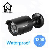 Wholesale Dvr 6mm - CCTV Camera FLOUREON 1200TVL Analog High Definition Image Waterproof Outdoor CCTV DVR Night Vision 6mm Lens Security System