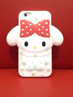 Wholesale Hello Bunny - Fashion Case For iphone6 6s 6 6splus, Cute Pink 3D Melody Hello Kitty Rabbit Bunny Cartoon Bowknot Diamond Back Cover Case