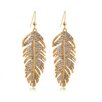 Wholesale Gold Plated Indian Earrings - 18K Gold Plated Drop Earrings Fashion Females Best Quality Dangle Earrrings For Christmas Day Wings of love Leaves Earrings Jewelry 4138