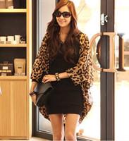 Wholesale Girls Shirt Cardigan - Western Girl Women Leopard Batwing Sleeve Ponchos Blouse for Women Lady girls Shirts Clothing 206