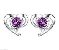 Wholesale Cheap Heart Shaped Earrings - 100 pcs Free shipping fashion jewelry cheap stud earrings earring for women 925 sterling silver women's Soft heart-shaped earr ings luxury