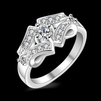 Wholesale Silver Pave Rings Fashion - Free Shipping New 925 Sterling Silver fashion jewelry Flash diamond Exquisite diamond With Pave zircon ring hot sell girl gift 1750