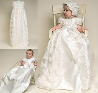 Wholesale Christening Dresses Boys - Custom Made Christening Dresses Lovely High Quality Taffeta Baptism Gown Lace Jacket Christening Dresses with Bonnet for Baby Girls and Boys