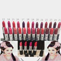 Wholesale Wholesale Bullet Candy - 2018 Brands M Matte Makeup Bullet Lipsticks Lip Gloss Lipgloss Waterproof Lip Sticks Cosmetics 3g Red CANDY -yum yum DHL! 25 Colors