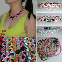 "Wholesale Size Titanium Baseball Necklaces - New Baseball Sports Titanium 3 Rope Braided Sport GT Necklace many colors"" OEM Size neon color in stock"