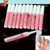 Wholesale Clear Base Coat - 100pcs Lot Pink Nail Glue 2g Mini Professional Beauty Nail Art Acrylic Glue Decorate Tips