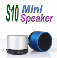 Wholesale Beatbox Bluetooth Speakers - Mini Loudspeaker S10 Mini Wireless Stereo Bluetooth Portable Speaker BeatBox Metal Compact Player Home Audio For IPhone Samsung with no logo
