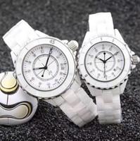 ingrosso bianco orologio da ceramica delle donne-Orologi da polso da donna di marca di lusso in ceramica 33mm quadrante bianco con movimento al quarzo