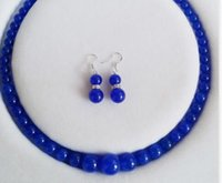 10mm Natural Blue Jade Gemstones Beads Necklace Earrings Set 18
