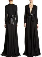 Wholesale Cheap Black Abayas - Cheap Deep V-Neck Evening Dress Empire Waist Sheath Gown With Belt Black Chiffon Abaya  Dubai Arabic Long Sleeves Muslim Formal dress HYD406