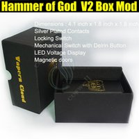 Wholesale Lcd E Cigs - Hammer of God V2 Box Mod Square 2rd generation updated 2.0 Mechanical 4pcs 18650 battery LCD Voltage Show Mods Vapor e cigs