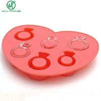 Wholesale Diamond Ice Drink - Creative ice lattice ice mold love ring diamond ice box DIY love silicone ice trays summer must Bar Party Drink