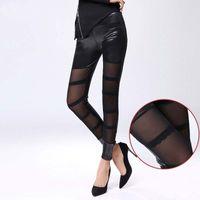 Wholesale Veil Leggings - 2016 Women Lace Veil Copy PU Leather Leggings Spring Autumn Fashion Girls Sexy Leggings Patterned Tights Transparent Leggings ZJ16-L08