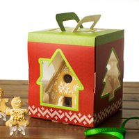 Wholesale Cupcake Packaging Boxes - 6 inch Christmas House Tree Candy Box Cake Packaging Cupcake  Gingerbread Holder Kid Children Party decoration