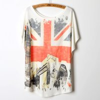 Wholesale Loose Batwing China - Cheap Cothes China 2015 European Fashion Summer Tops England Flag Print Loose T Shirt Women top Tee Shirts Short Sleeve Batwing
