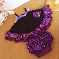 Wholesale Swing Tops Bloomers - Halloween Baby Swing Top Set Black Purple Pumpkin Baby Bloomer Set Festival Swing Outfit With Bloomer
