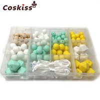 Wholesale Perfect Shower - DIY Silicone Baby Teething Necklace Kit Free Storage Case Included Perfect Baby Shower Gift Mixed Color Food Grade Teething Silicone Beads