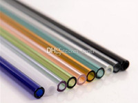 Wholesale Drinking Straws For Party - New Arrive Colored Borosilicate Cocktail Glass Straws 7 Inch 8mm strait drinking straw for party