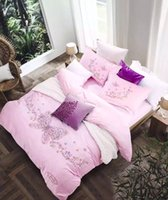 2016 Pink Butterfly Cotton 4Piece Bedding Sets Exquisite Embroidery Bed Sets Factory Supply Home Texitles Queen King Size